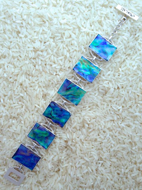 Paua Abalone Bracelet Rectangular 6-Links No Stones