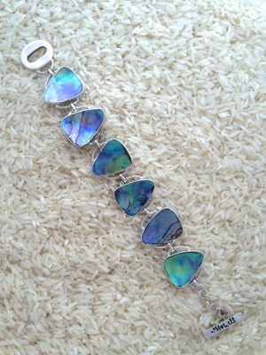 Paua Abalone Bracelet Teardrop 6-Links No Stones