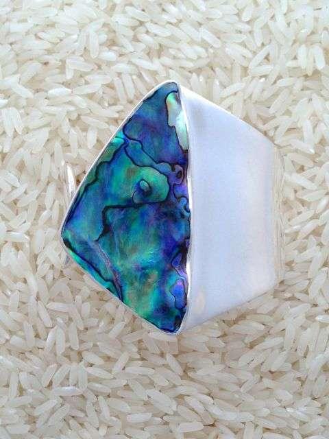 Paua Abalone Bracelet Wave Cuff w/ No Stones