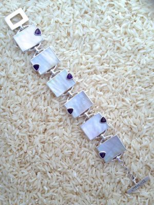 Mother-of-Pearl Bracelet Rectangular w/ Trill Amethyst