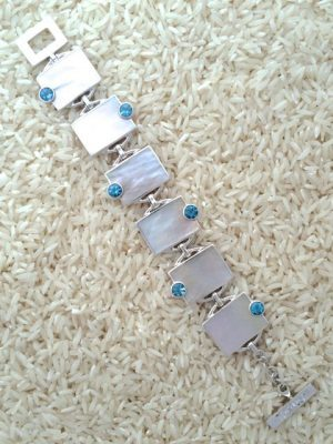 Mother-of-Pearl Bracelet Rectangular w/ Round Gemstone