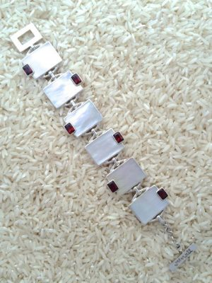 Mother-of-Pearl Bracelet Rectangular w/ EC Gemstone