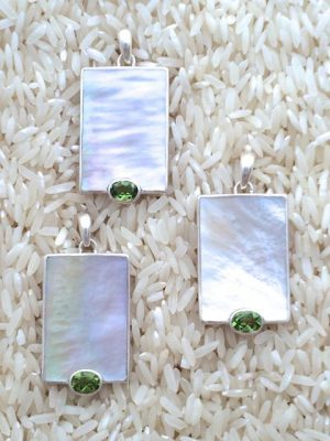 Mother-of-Pearl Pendant Rectangular Medium w/ Oval Gemstone