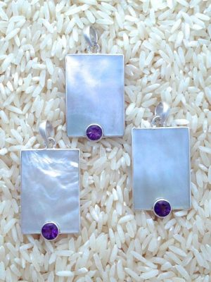 Mother-of-Pearl Pendant Rectangular Medium w/ Round Gemstone