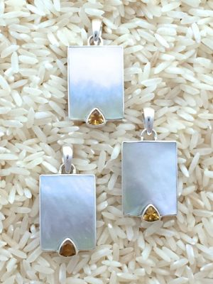 Mother-of-Pearl Pendant Rectangular Medium w/ Trill Gemstone