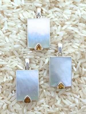 Mother-of-Pearl Pendant Rectangular Medium w/ Trill Gemstone