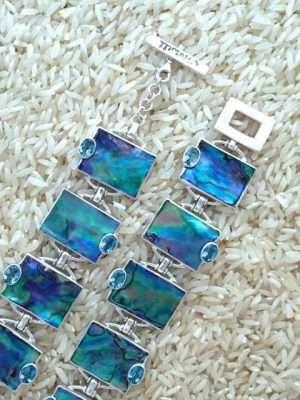 Paua Abalone Bracelet Rectangular w/ Oval Gemstone