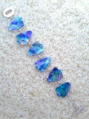 Paua Abalone Bracelet Teardrop w/ Oval Blue Topaz