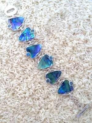 Paua Abalone Bracelet Teardrop w/ Round Gemstone