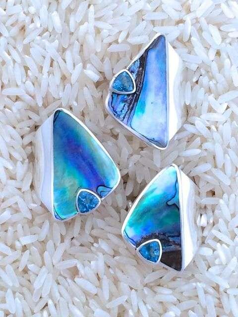 Paua Abalone Ring Blue Topaz Trill
